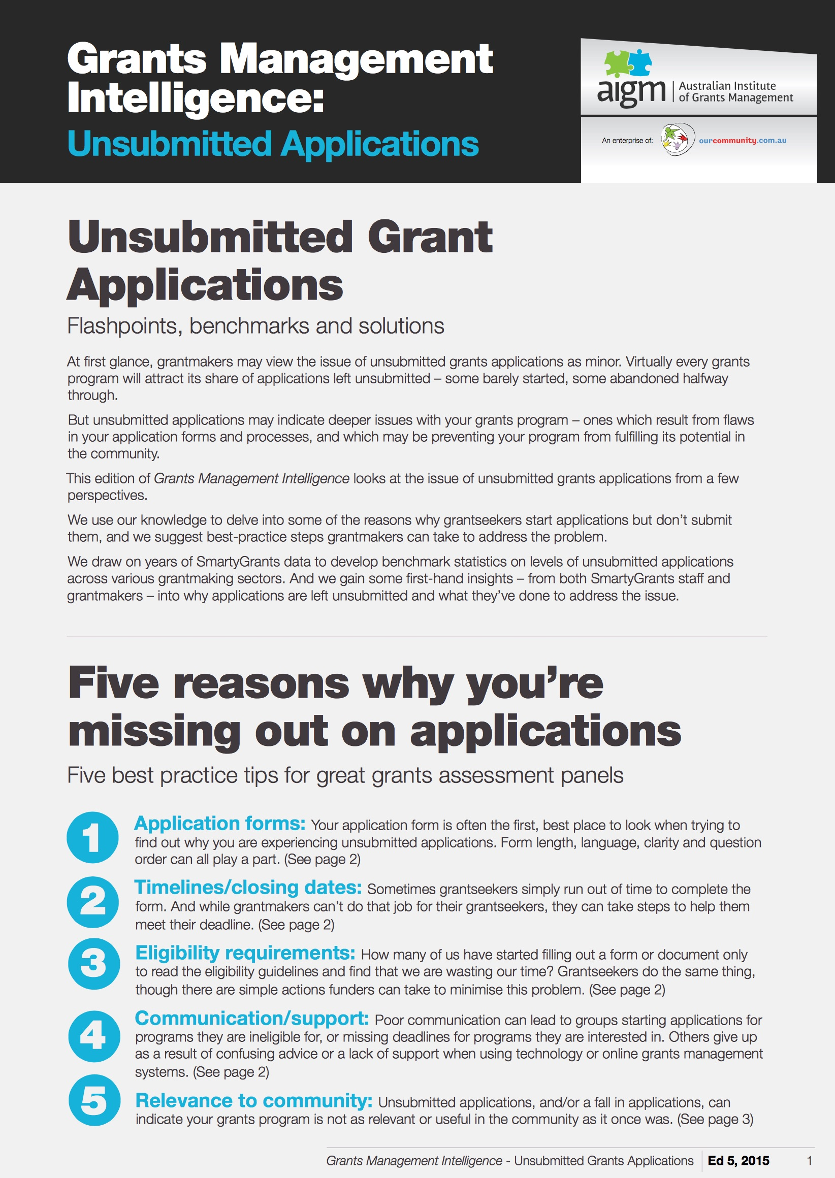 Grants in Australia 2007 survey